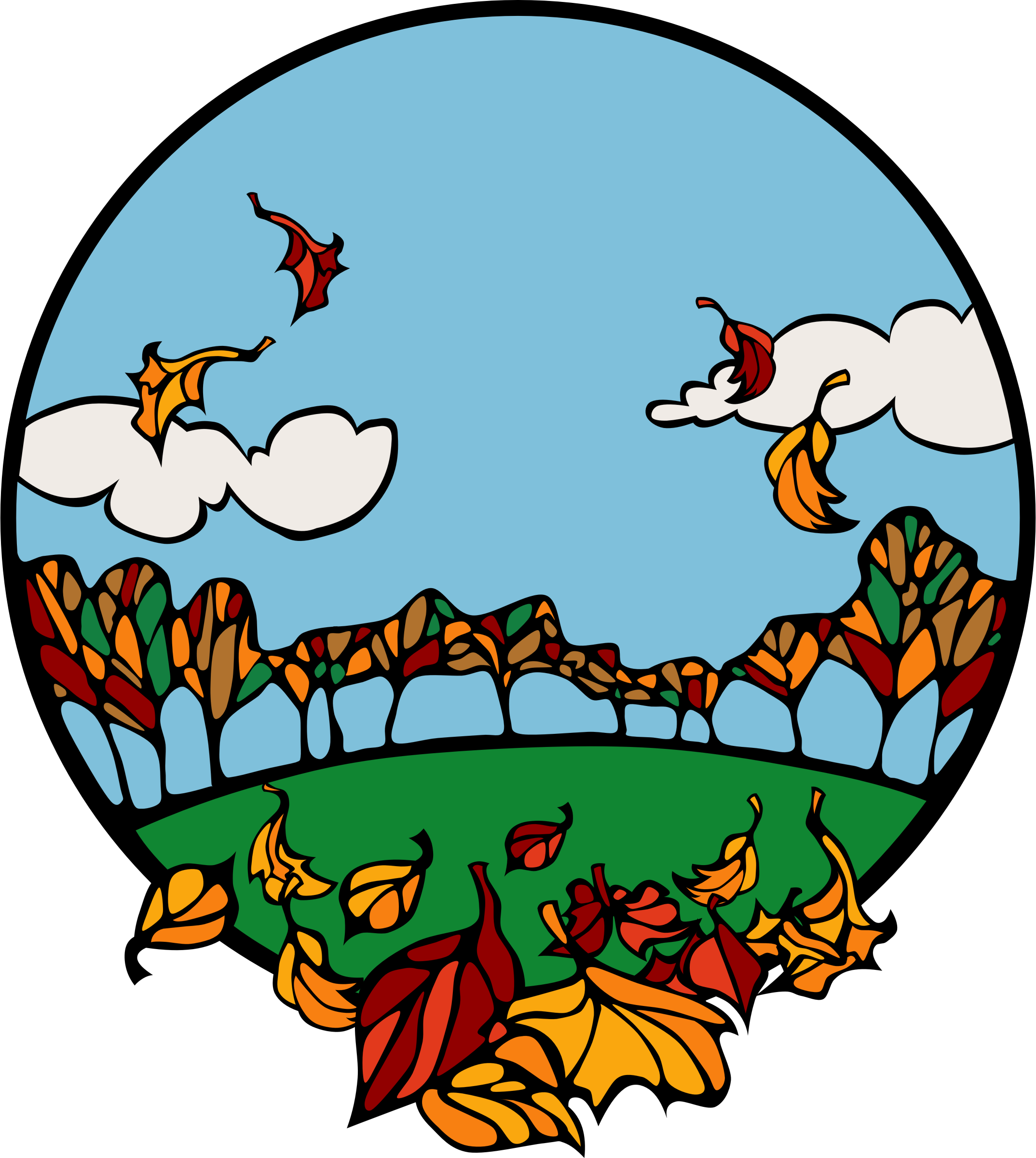 Fall scene in a circle by Anonymous