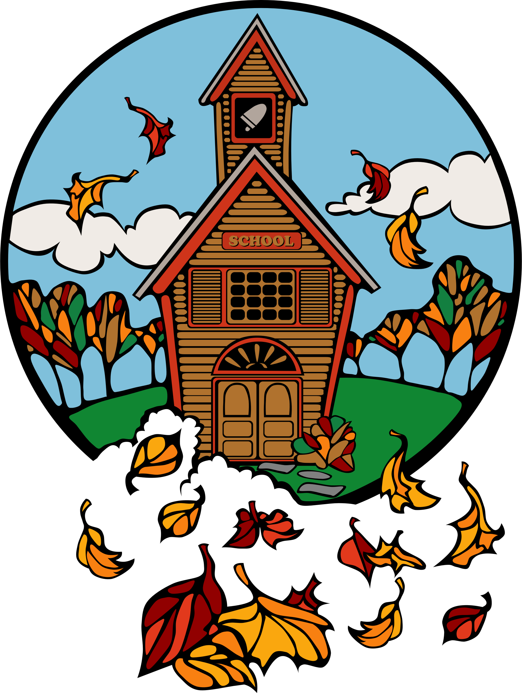 school in Fall by Anonymous