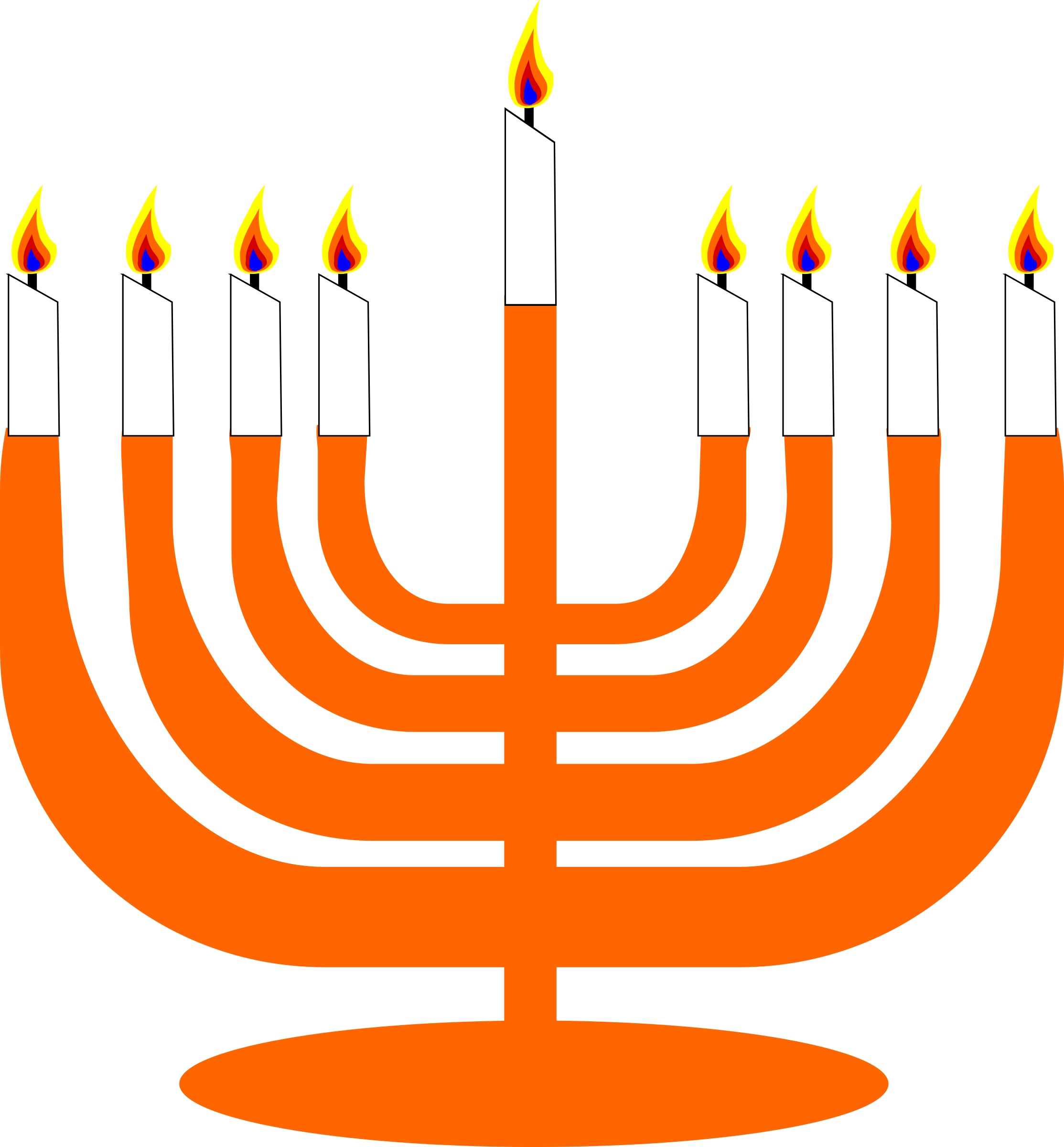 Simple Menorah For Hanukkah WIth Shamash by semjaza