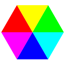 Hexagon 6 color plain