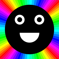 happy black moon outrayj by 10binary - With the colors around it. It's easy to see why the face is happy.