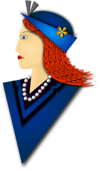 Elegance by Merlin2525 - A drawing I made of an Elegant Lady. The braided hair reminds one of the DNA sequence. She is wearing an fashionable hat, pearl necklace, flowery detail on shirt collar. Drawn with Inkscape.