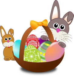 Funny bunny face with Easter eggs in a basket with baby rabbit by palomaironique - Funny bunny face with Easter eggs in a basket with baby rabbit - Dr�le de museau de lapin avec un panier d'oeufs de P�ques et b�b� lapin - Lustige Hase Gesicht mit einem Korb voller Ostereier mit baby - Musetto di coniglietto divertente con un cesto di uova di Pasqua e un coniglietto (partially remixed from