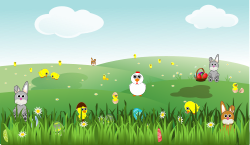 Easter Landscape with bunnies, chicks, eggs, chicken, flowers by palomaironique - Easter Landscape with bunnies, chicks, eggs, chicken, flowers, ... - Paysage de P�ques avec lapins, poussin, oeufs, poule, fleurs, ... - Ostern Landschaft mit Hasen, K�ken, Eier, Gefl�gel, Blumen, ... - Paesaggio di Pasqua con conigli, pulcini, uova, gallina, fiori ... (partially remixed from