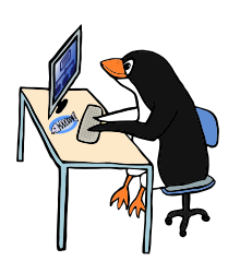 Penguin Admin by Moini - Penguin working on his computer, seems to be the admin of a network, used yves_guillou_fish_sheleton.svg and network-blue.svg.
