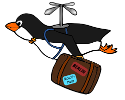 Migrating Penguin by Moini - Penguin flying with a suitcase, designed for web site - World Migratory Bird Day is on second weekend in May.