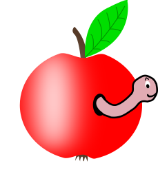 Apple 002 red green leaf w worm
