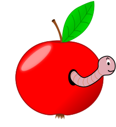 Red Apple with a Worm by vanyasmart - Remix on palomaironique work