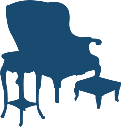 Armchair and table by Moini - Silhouette of an old-fashioned ensemble of an armchair, a side table and a foot stool.