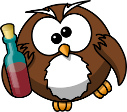 Drunk owl by bocian - Owl and a bottle of alcohol