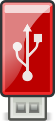 USB Red - Tango style by flooredmusic - Red USB stick stylized to meet the Tango open-icon design standards