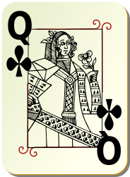 Guyenne deck: Queen of clubs by mariotomo - Queen of club, remixing the Guyenne and the Ornamental decks.