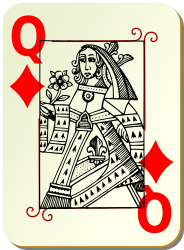 Guyenne deck: Queen of diamonds by mariotomo - Queen of diamond, remixing the Guyenne and the Ornamental decks.