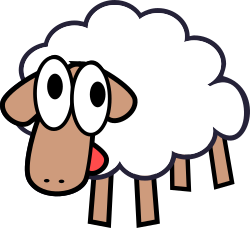 White stupid cute cartoon sheep