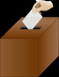 Ballot box isometric with hand