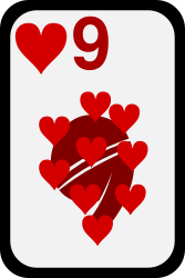 Nine of Hearts by momoko - Nine of hearts from a funky card deck