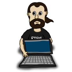 Comic characters: Laptop by nicubunu - Comic characters: a bearded guy holding a laptop
