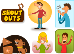 Shout Outs by kablam - A series of cartoons of shout outs. Great for announcements. See http://openclipart.org/media/files/kablam/14523 for more in this series.  Created by pencilsauce.com using Inkscape from inkscape.org