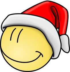 Smily face by mbtwms - a smily wearing a christmas hat.