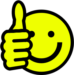 Thumbs up smiley by skotan - A yellow smiley face giving a �thumbs up�