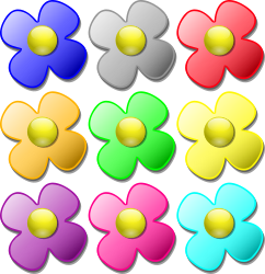Game marbles - flowers by nicubunu - colored flowers, can be used as game marbles