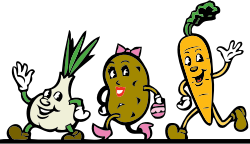 veggies by johnny_automatic - cartoon vegetables (garlic or onion, potato, carrot) based on US government PD file