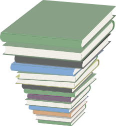 Pile of Books by J_Alves - A high stack of books, drawn in Inkscape.