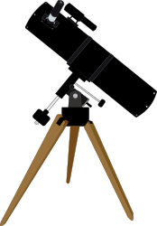 Reflector telescope by J_Alves - A simplified reflector telescope on tripod. Drawn in Inkscape.