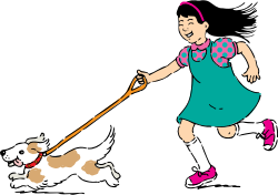 walking dog by johnny_automatic - cartoon of a girl walking a dog from  http://www.usda.gov/cnpp/KidsPyra/  National Agricultural Library, Agricultural Research Service, U. S. Department of Agriculture