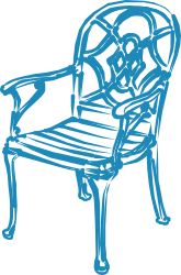Blue Chair by JicJac - I remixed an earlier line drawing I created.