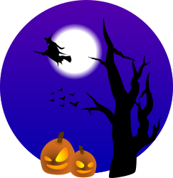 Halloween scene by laobc - A halloween scene. A witch and some bats flying, an old tree, some evil pumpkins and the moon. Tree from http://www.openclipart.org/detail/60391