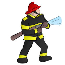 brandman släcker elden