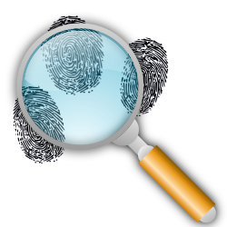 Fingerprint Search with Slight Magnification by eady - In this version, the magnifying glass is actually magnifying the prints a little.