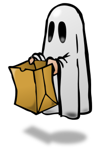 Trick or Treat Ghost with paper bag