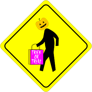 Halloween Pedestrian Caution Sign