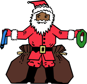 Clipart - Santa Giving Presents