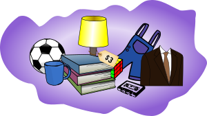 Rummage Sale items soccer ball, cup, book,lamp, overalls,suit, Free image