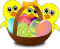 Funny Chicks Cartoon with Easter eggs in a basket