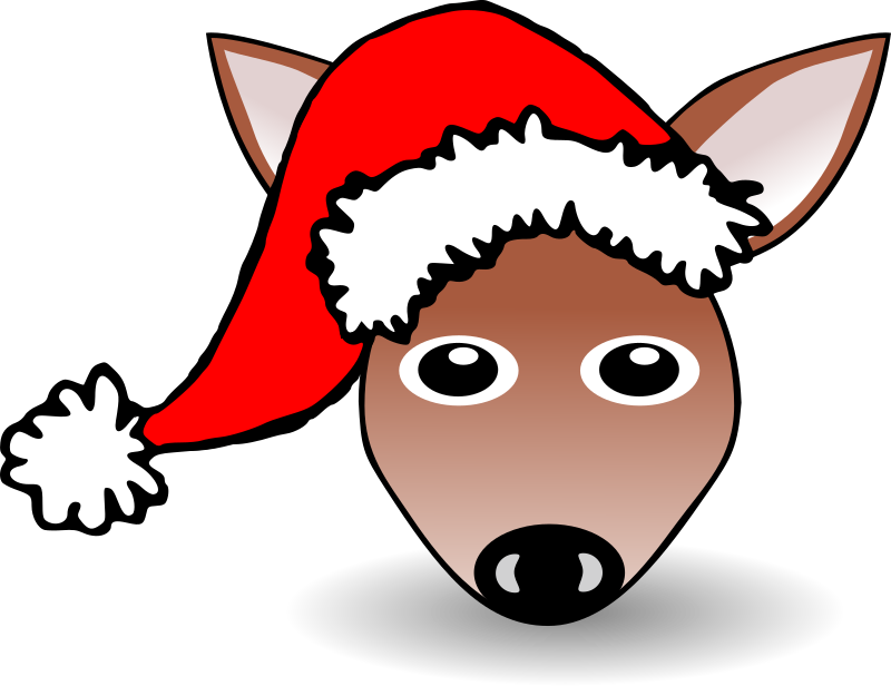 Funny Fawn Face Brown Cartoon with Santa Claus hat