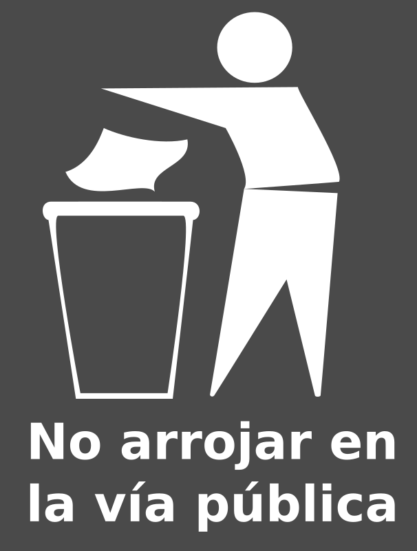 Spanish Trash Bin Sign