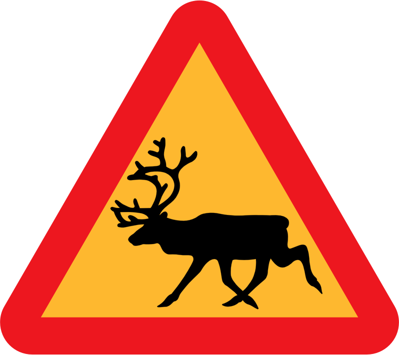 Warning Reindeer Roadsign