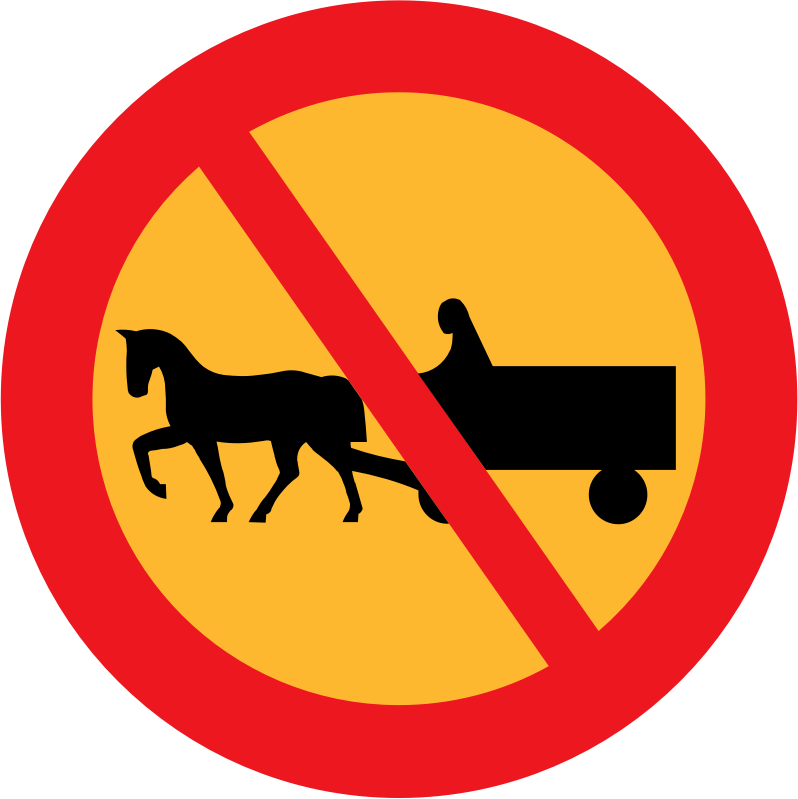 No horse and carts sign