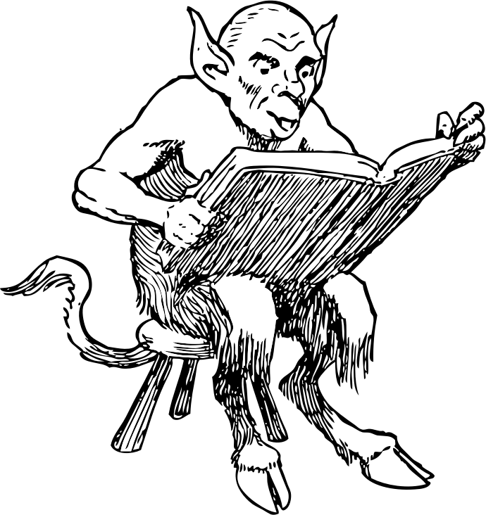 demon reading book
