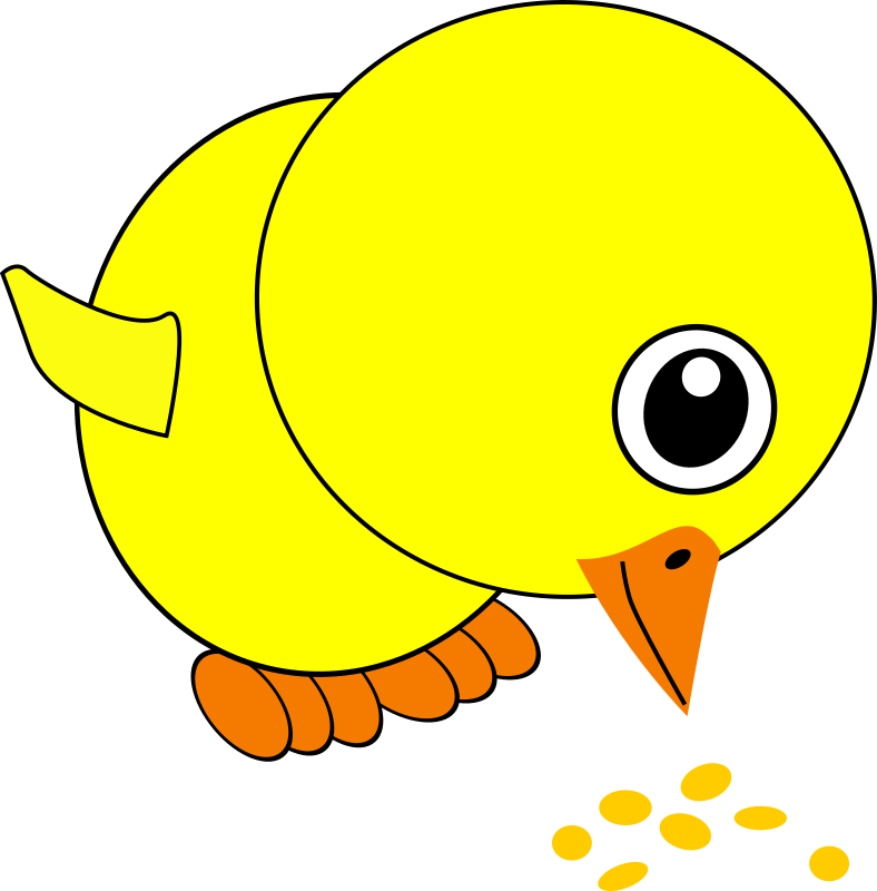 Funny Chick Eating Bird Seed Cartoon