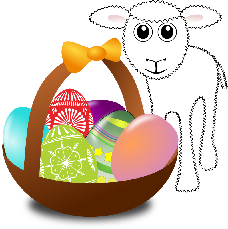 Funny lamb with Easter eggs in a basket