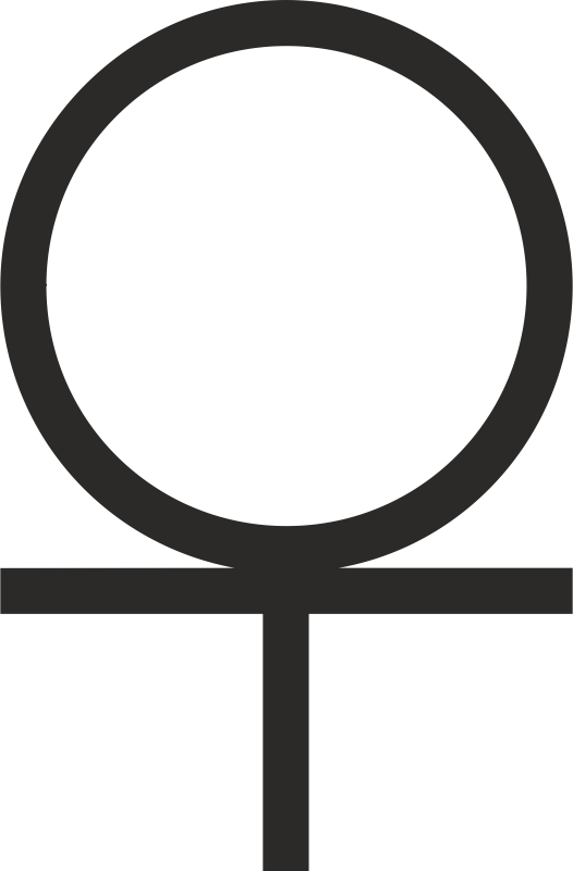 Ankh cross 3/4 Below Circle
