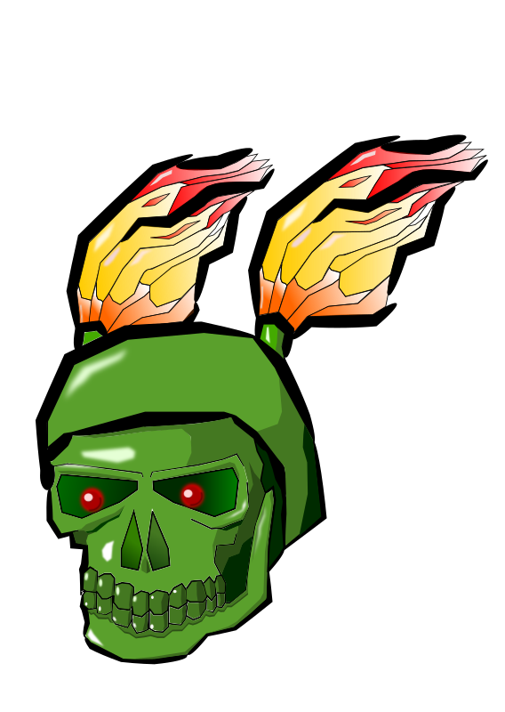 Green Skull with Flames