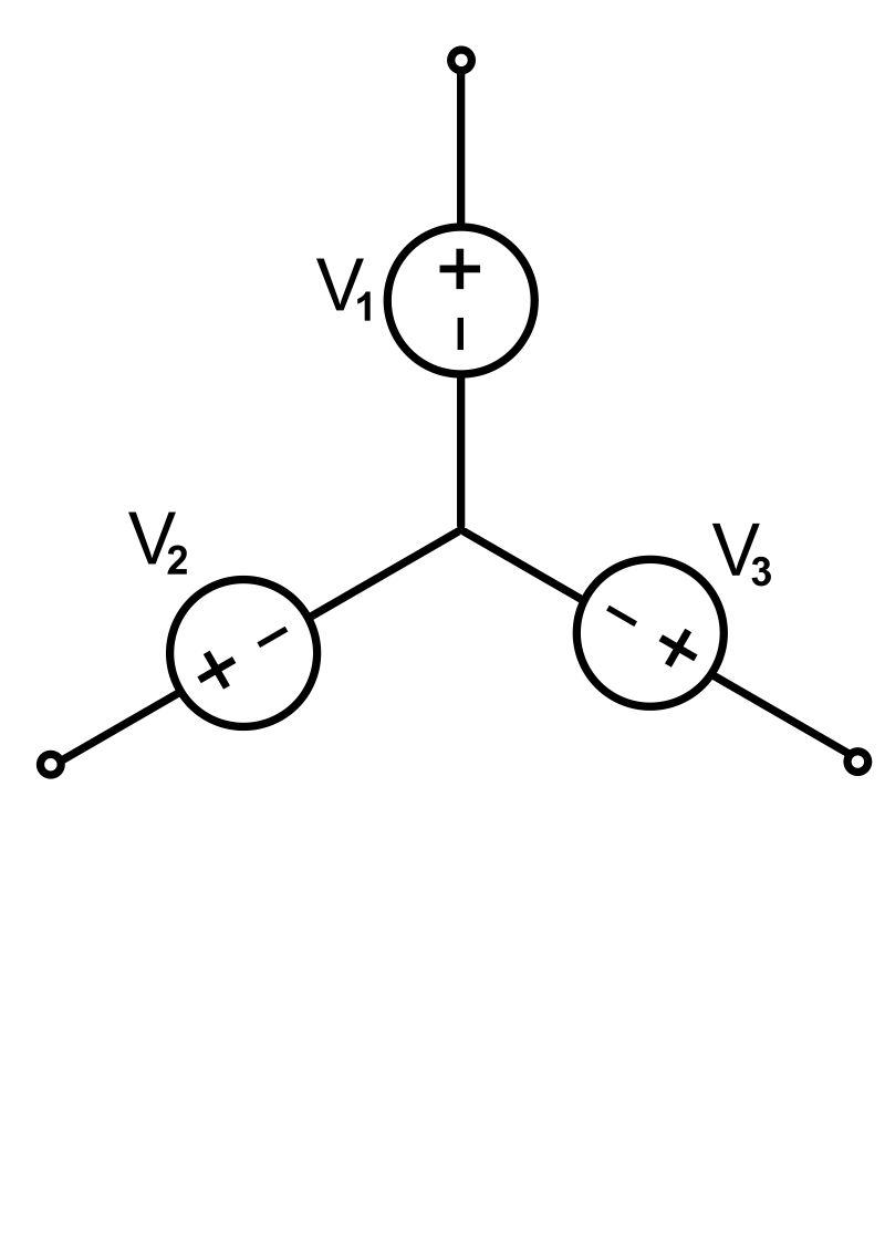 A Three-phase electric power source connected in Y formation