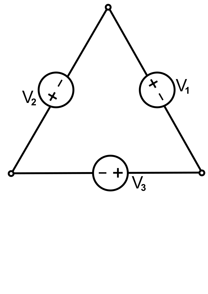 A Three-phase electric power source connected in Delta formation