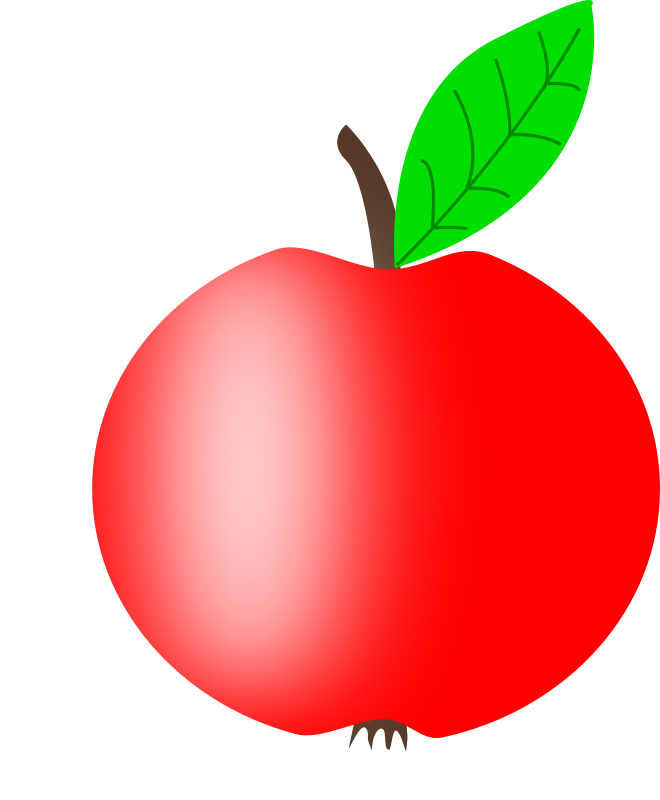 Apple Red with a Green Leaf